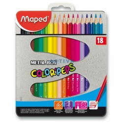 Pastelky Maped Color´Peps Metal Box - 18 barev