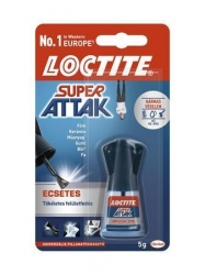 "Vteřinové lepidlo, 5 g, HENKEL ""Loctite Super Attak Easy Brush"""